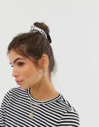 ASOS DESIGN scrunchie with frills in polka dot - Cream
