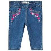 Guess Blue Light Wash Heart Embroidered Pull Up Jeans 3-6 months
