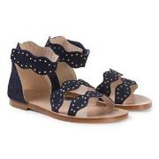Chloé Navy Leather Scalloped Sandals 28 (UK 10)