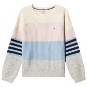 Tommy Hilfiger Cream Fluffy Colorblock Knit Sweater 6 years
